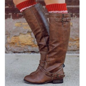 Tan Distressed Zipper Back Knee High Flat Boots